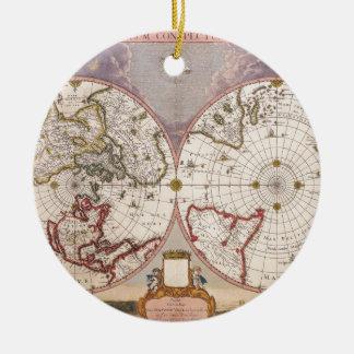 Antique World Map Round Ceramic Ornament
