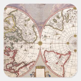 Antique World Map Square Sticker