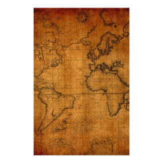 Antique World Map Stationery Paper