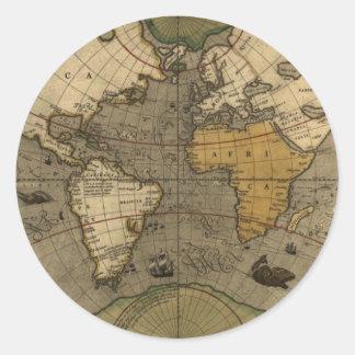 Antique World Map Round Stickers