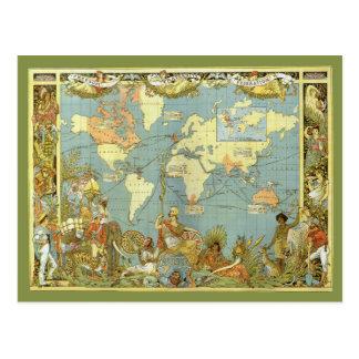 Antique World Map, Vintage Change of Address Postcard