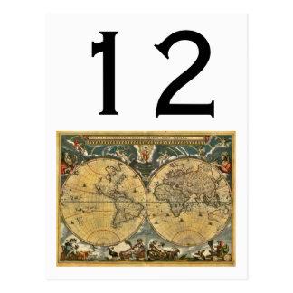 Antique World Map, White BG Table Number Postcard