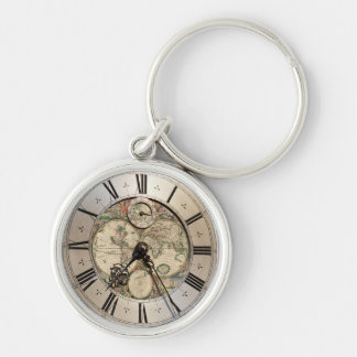 Antique world map with silver shades clock frame keychain