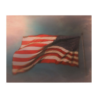 Antiqued American Flag Wood Print 14 x 11