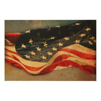 Antiqued American Flag Wood Print 36 x 24
