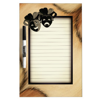 Antiqued Comedy and Tragedy Theater Masks Jester Dry Erase Board