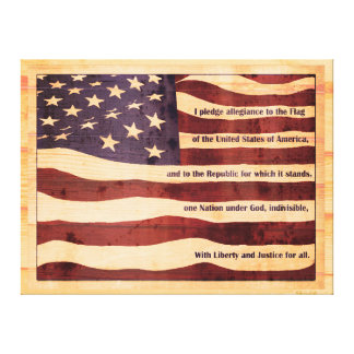 Antiqued flag with pledge of allegiance wood look canvas print