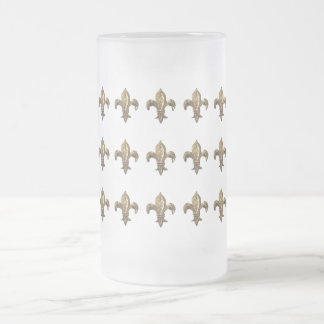 ANTIQUED GOLD FLEUR DE LIS PRINT FROSTED GLASS BEER MUG