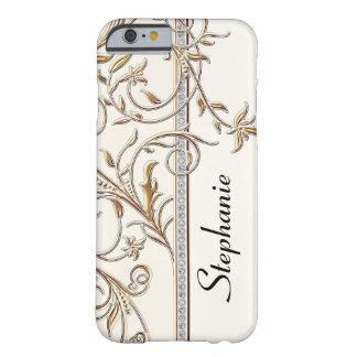 Antiqued Gold Golden Swirl Faux Jewel Personalized Barely There iPhone 6 Case