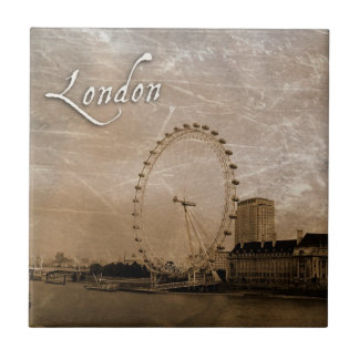 Antiqued London Eye Art Tile