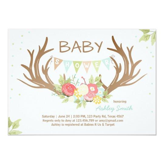 Antler Baby Shower Invitation Deer Woodland Floral