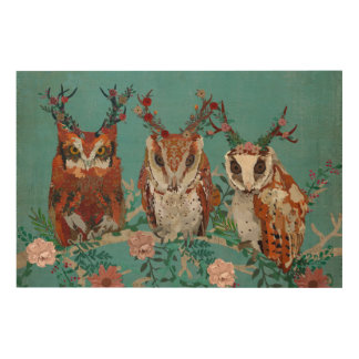 ANTLER FLORAL OWLS ON BRANCH Wooden Canvas Wood Print
