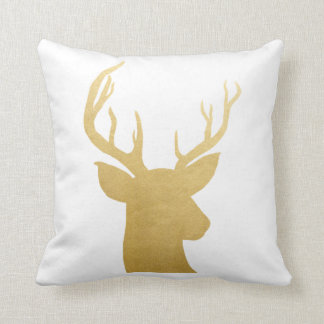 Antler | Reindeer | Faux Gold Foil  Modern Holiday Throw Pillow