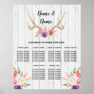 Antler Table Wedding Floral Poster Seating Wood