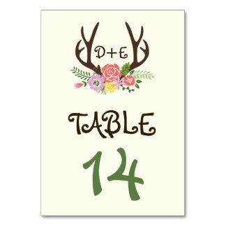 Antlers & coral pink flowers wedding table number