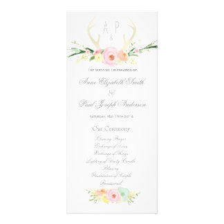 Antlers floral Wedding Program
