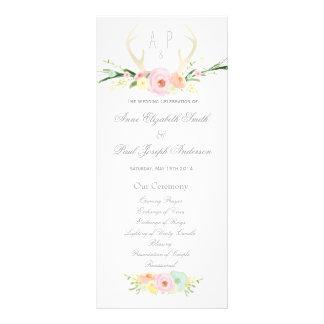Antlers floral Wedding Program Custom Rack Cards