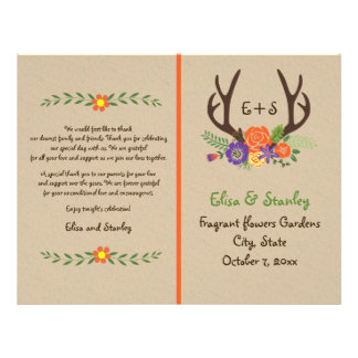 Antlers & orange flowers monogram wedding program flyer