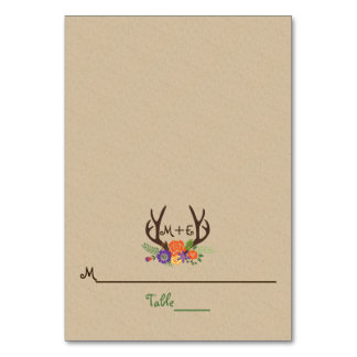 Antlers & orange purple flowers wedding place card table card