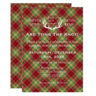 Antlers Red and Green Plaid Wedding Invitation