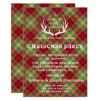 Antlers Red Green Plaid Christmas Party Invitation