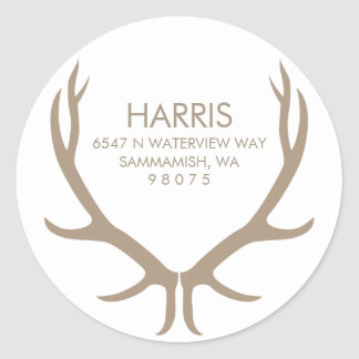 Antlers Return Address Label Round Sticker