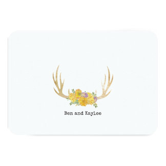 Antlers with BoHo Flowers Personalized Thank You Card