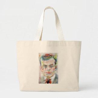 antoine de saint exupery - watercolor portrait large tote bag