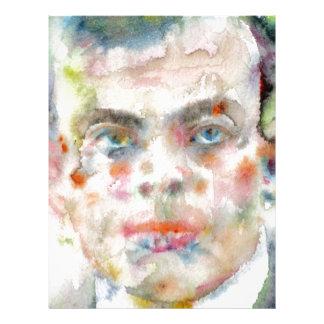 antoine de saint exupery - watercolor portrait letterhead
