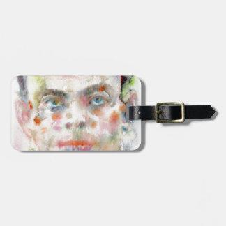 antoine de saint exupery - watercolor portrait luggage tag