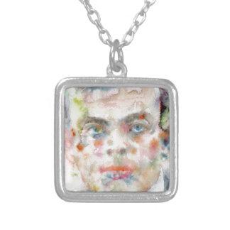 antoine de saint exupery - watercolor portrait silver plated necklace