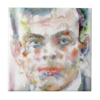 antoine de saint exupery - watercolor portrait tile