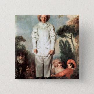 ANTOINE WATTEAU - Pierrot (Gilles) 1718 2 Inch Square Button