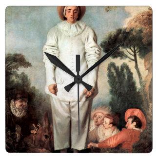 ANTOINE WATTEAU - Pierrot (Gilles) 1718 Square Wall Clock