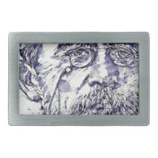anton chekhov - watercolor portrait.2 belt buckles