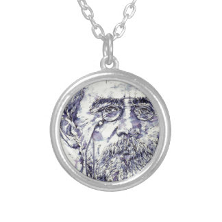 anton chekhov - watercolor portrait.2 silver plated necklace