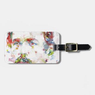 anton chekhov - watercolor portrait.3 luggage tag