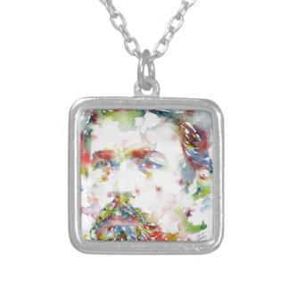 anton chekhov - watercolor portrait.3 silver plated necklace