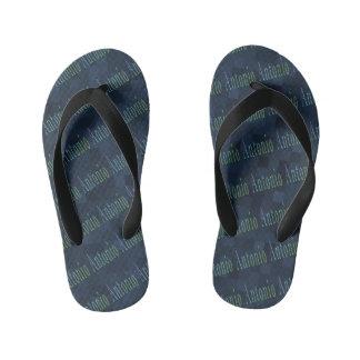 Antonio Name Logo On Blue Mosaic Kid's Flip Flops