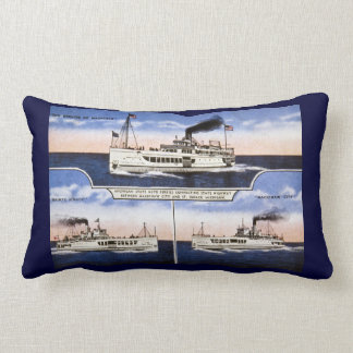 Antqiue Michigan Car Ferries Mackinaw City Vintage Lumbar Pillow
