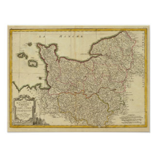 Antque Map of France Poster