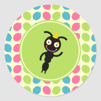 Ants and balloons kids birthday party classic round sticker