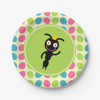 Ants and balloons kids birthday party paper plate