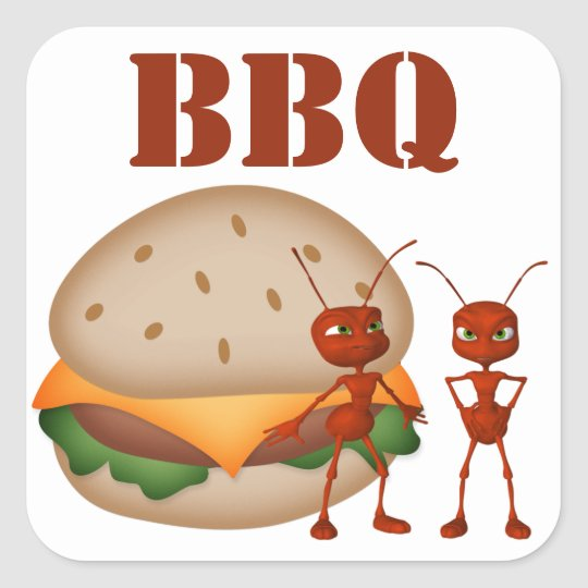 Ants and Burger Square Sticker