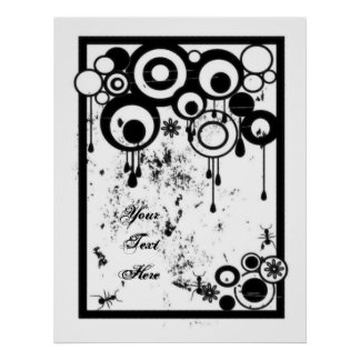 Ants & Circles - Black & White Poster