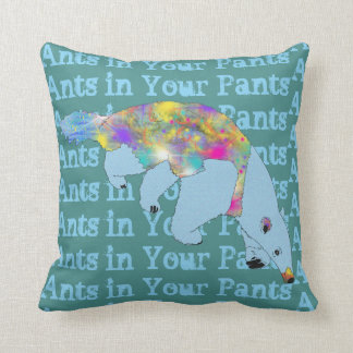 Ants in Your Pants Blue Anteater Animal Art Throw Pillow