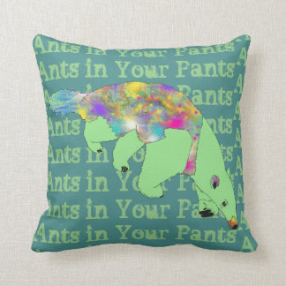 Ants in Your Pants Green Anteater Animal Art Throw Pillow