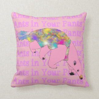 Ants in Your Pants Pale Pink Anteater Animal Art Throw Pillow