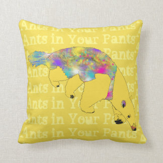 Ants in Your Pants Yellow Anteater Animal Art Throw Pillow
