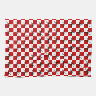 Ants Picnic Marching Bugs Red Checked Design Kitchen Towel